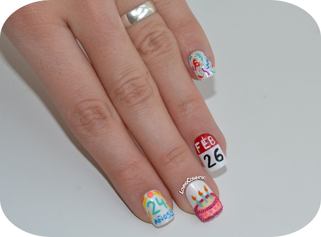 Manicura cumpleañera bday nails nail art birthday cake calendar 26 febrero cumpleaños
