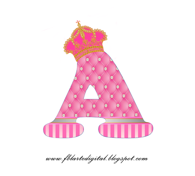 Alfabeto con Corona Dorada y Rosa. Pink Alphabet with Golden and Pink Crown.