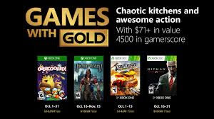 Xbox Games With Gold For October 2018