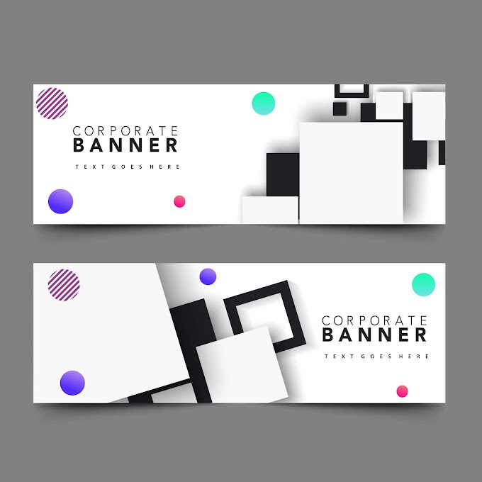Corporate banner sets modern design geometric decoration Free vector