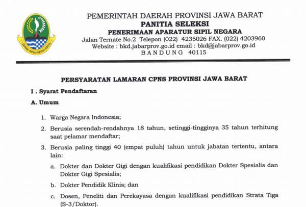 Persyaratan Lamaran CPNS Provinsi Jawa Barat