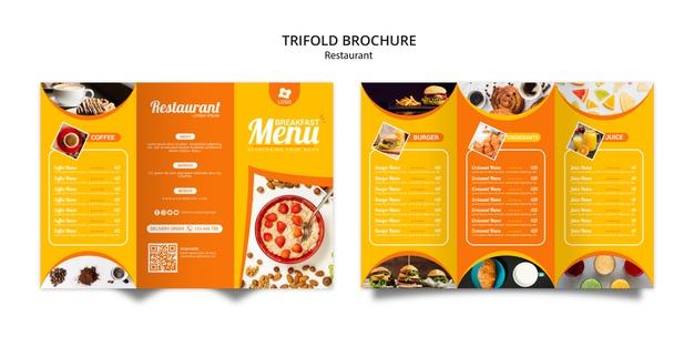 Tripfold online restaurant brochure template Free Psd
