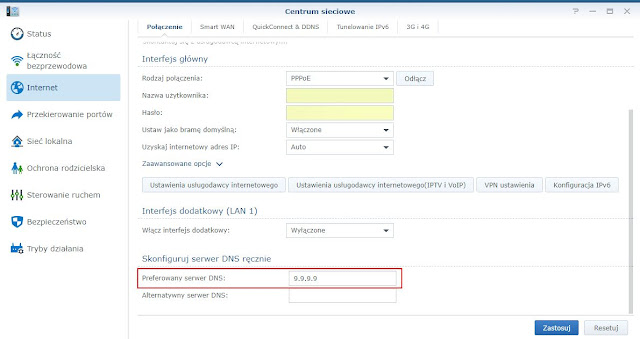 Konfiguracja serwera DNS w routerze Synology RT2600ac