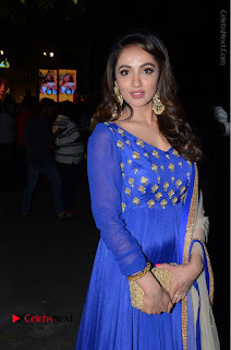 Telugu Actress Tejaswi Madivada Pos in Blue Long Dress at Nanna Nenu Na Boyfriends Audio Launch  0006.JPG
