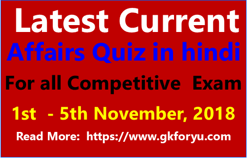 Current Affairs Quiz in Hindi I Current Affairs 2018