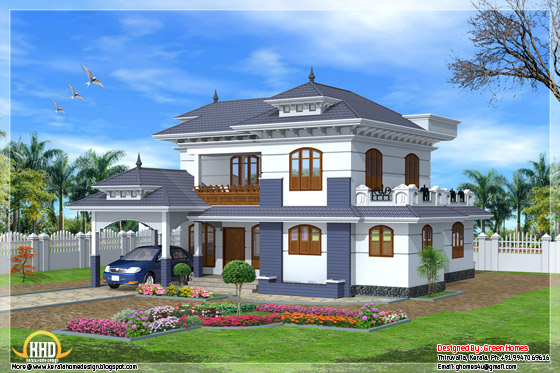 Side elevation of 2235 square feet, 4 bedroom Kerala style home design