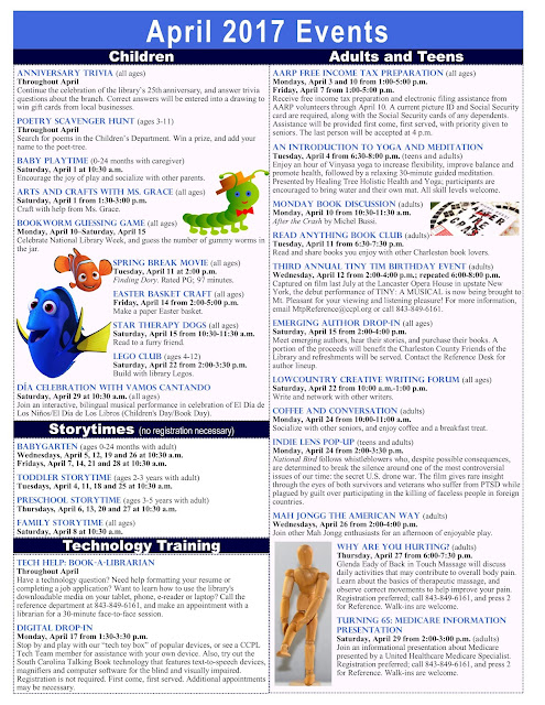 April Calendar Of Events : Mtp library matters april calendar of events