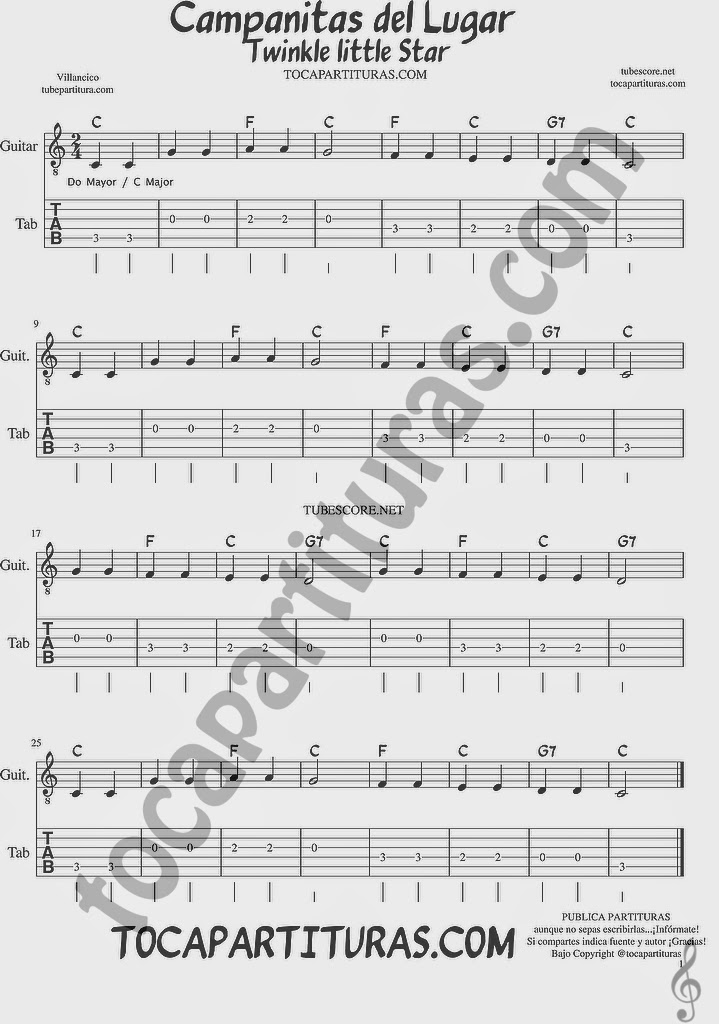 Campanitas del Lugar Tablatura y Partituras del Punteo de Guitarra con acordes Tabs Twinkle Twinkle little Star sheet music for easy guitar Tablature with chords DO MAYOR / C MAJOR