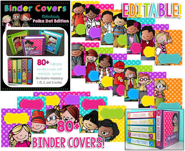 https://www.teacherspayteachers.com/Product/Polka-Dot-Binder-Covers-Editable-Melonheadz-Edition-1888160