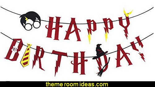 Harry Potter Party Supplies – Happy Birthday Banner Felt Garland Party Decoration  Harry potter themed bedrooms - Harry Potter Room Decor - Harry Potter Bedroom Ideas - Harry Potter  bedding - Harry Potter wall decals - Harry Potter wall murals - harry potter furniture - harry potter party supplies - castle decorating props - harry potter party decorations - Magical Hogwarts House Theme