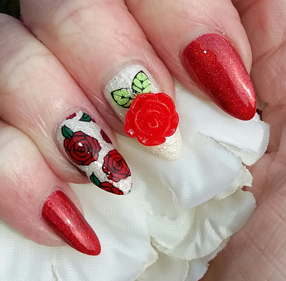 3d nail art rose charm blog by tracey bellew charlies nail art to the white nails i added stamped roses and leaves then applied the gem with topcoat as it has a flat back it stuck well to my nail prinsesfo Choice Image