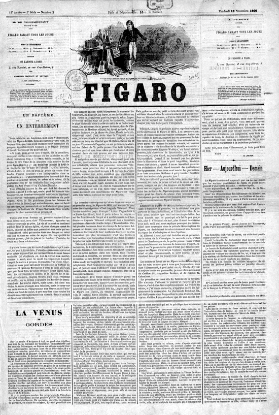 Le Figaro, front page of the new daily edition 1866