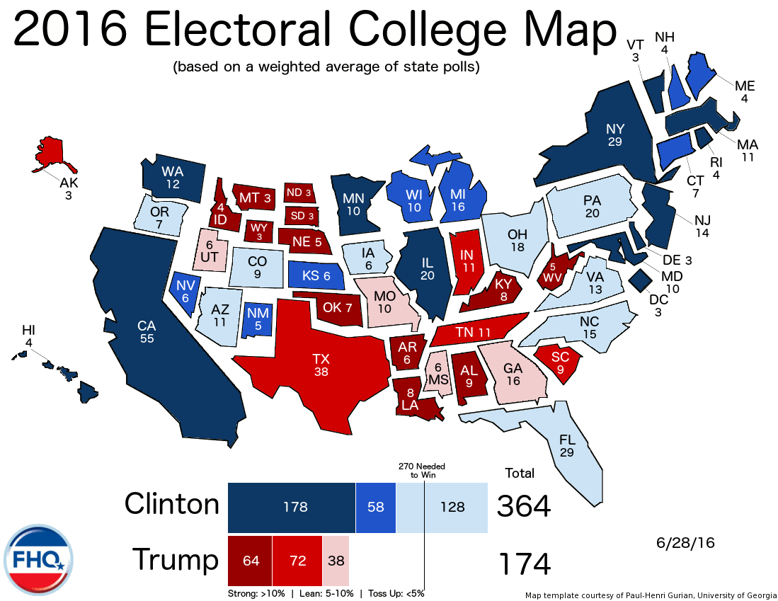 Frontloading Hq The Electoral College Map 6 28 16