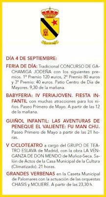 Programa de la Feria de Jódar 2017 - 4 de Septiembre