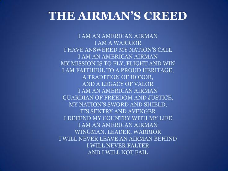 Usaf bmt wot5 i did some research about this creed and was surprised to read that it was only introduced to the air force in 2007 when it was introduced altavistaventures Choice Image