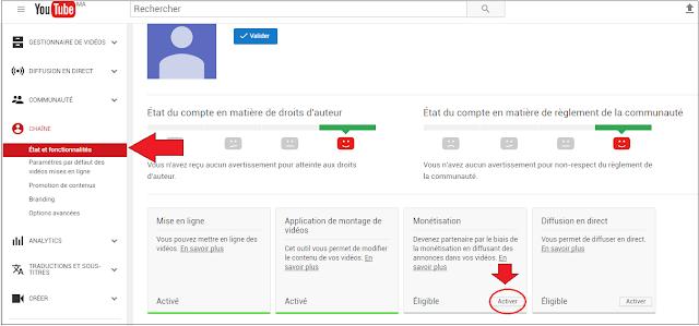 Etat et fonctionnalités Youtube