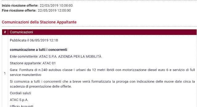Situazione Trasporto Pubblico Roma mercoledì 15 maggio
