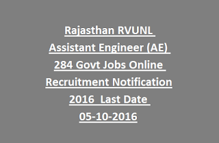 Rajasthan RVUNL Assistant Engineer (AE) 284 Govt Jobs Online Recruitment Notification 2016 Last Date 05-10-2016