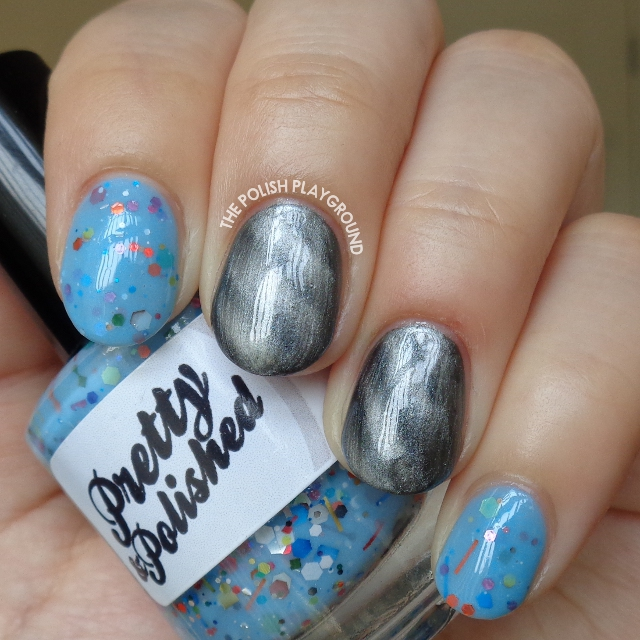 Blue Crelly with Grey Magnetic Polish Nail Art