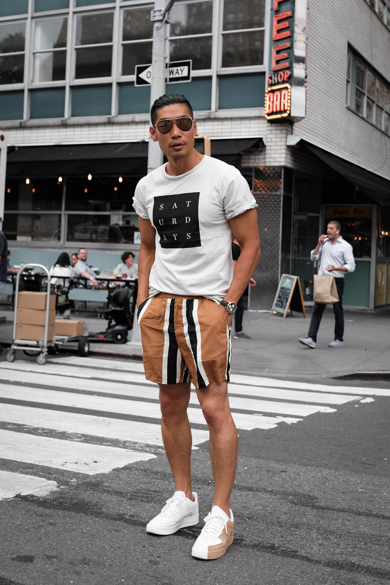 Wearing Saturday's Logo T-Shirt, Bold Stripe ASOS Shorts, Nike Air Force 1 Split | Asian Male Model and Blogger