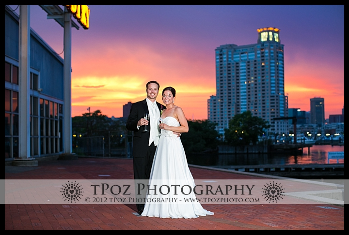 Baltimore Museum of Industry Wedding Portrait Sunset