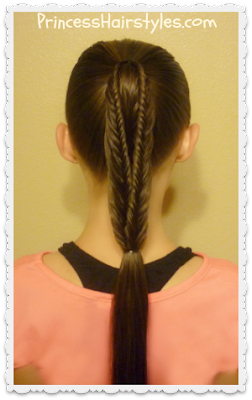 Cute split fishtail braid ponytail hairstyle tutorial.