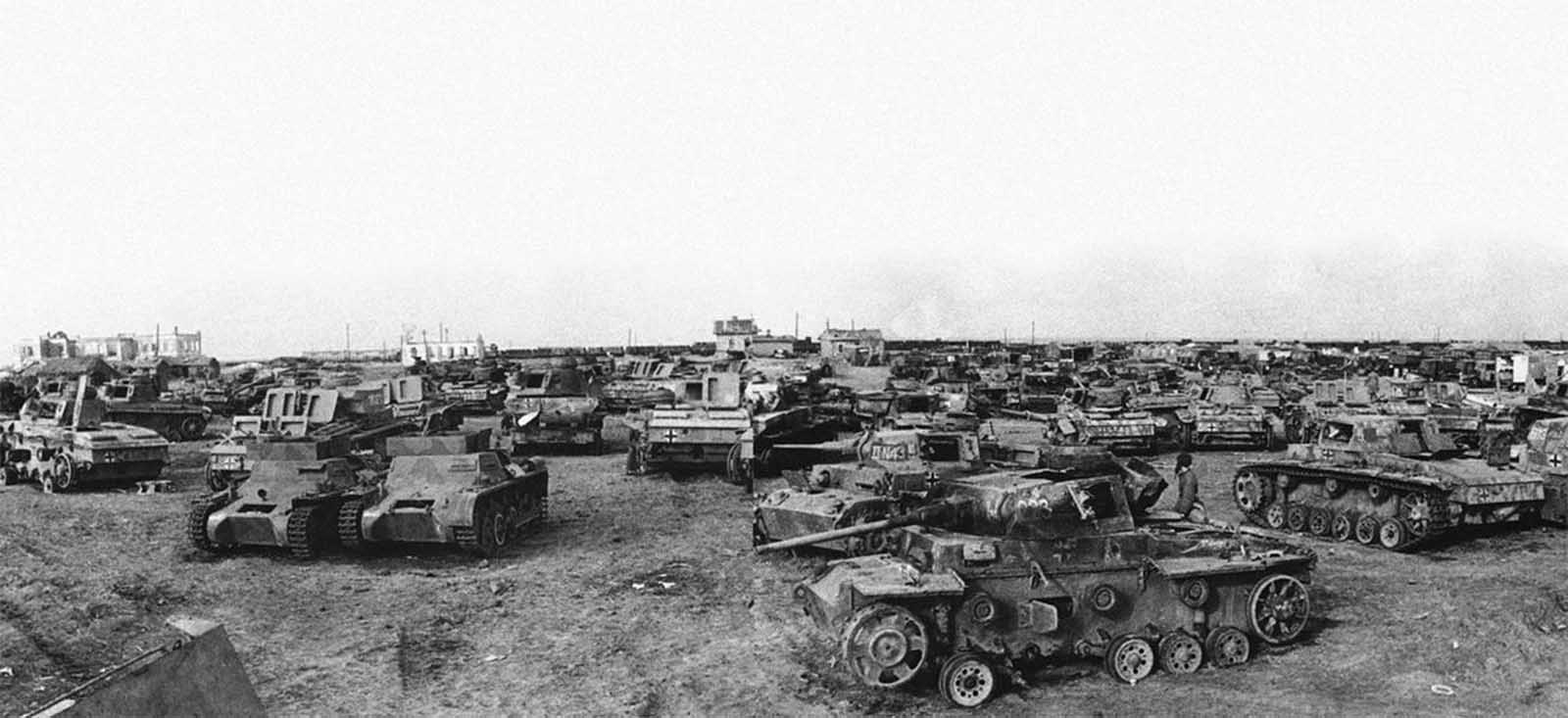 Captured German tanks southwest of Stalingrad, shown on April 14, 1943.
