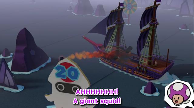 Paper Mario Color Splash Lost Sea Blooper cannonball pirate ship fire