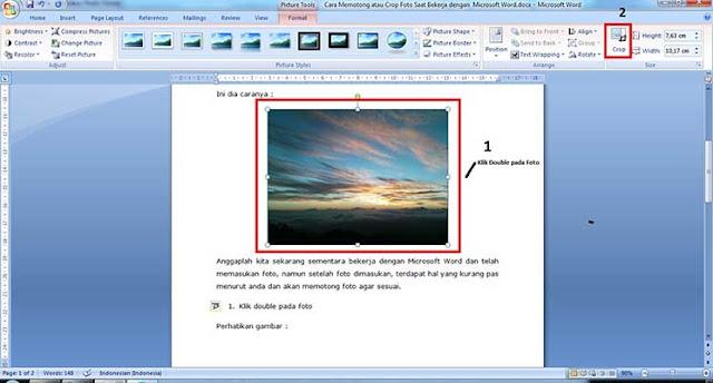 Cara Crop Foto Saat Bekerja dengan  Microsoft Office Word
