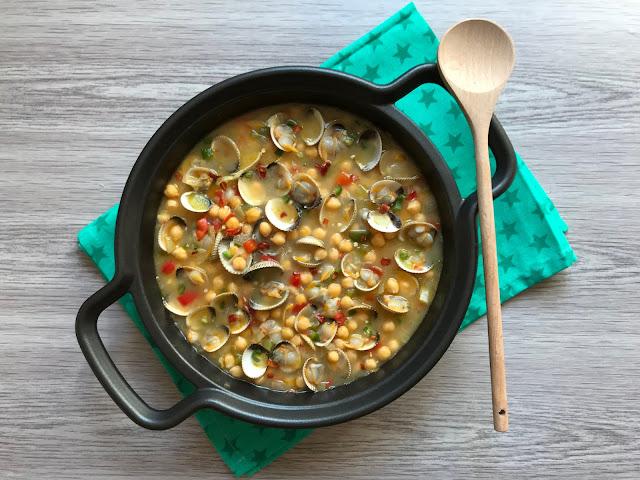 garbanzos con berberechos receta