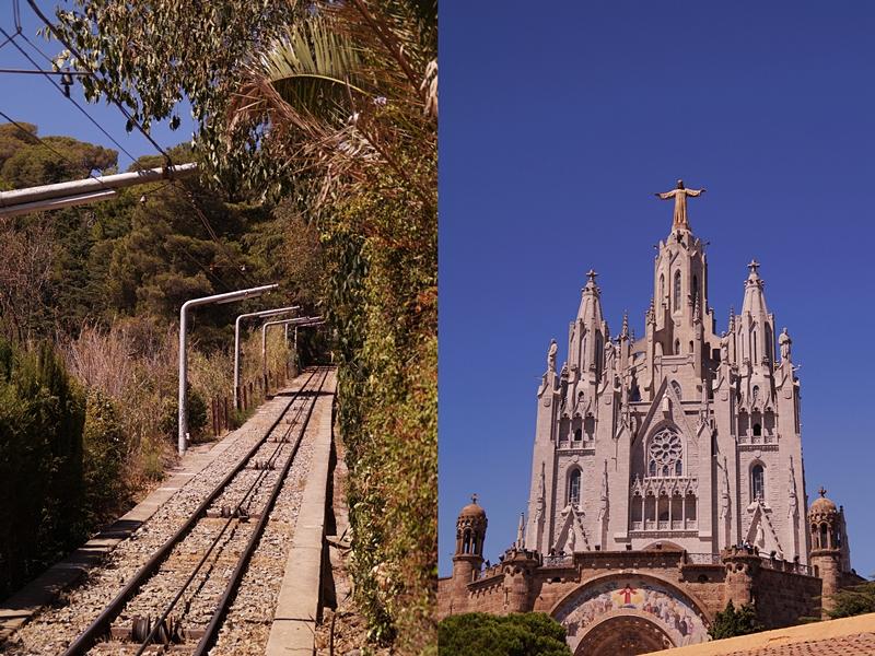 Barcelonas Hausberg Tibidabo mit der Kirche Sagrat Cor im Sommer
