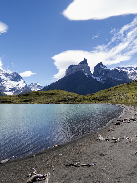 Lake with mountains behind on the hike to Mirador Cuernos in Torres del Paine National Park