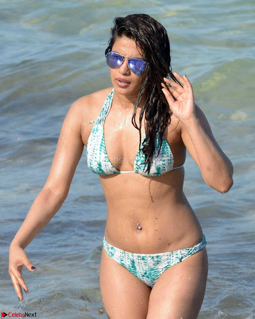 Priyanka Chopra on beach in White and green Bikini Enjoying Miami Day 5 ~  Exclusive 01.jpg