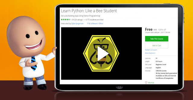 [100% Off] Learn Python: Like a Bee Student|Worth 35$