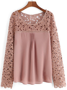 www.shein.com/Pink-Scoop-Neck-Lace-Splicing-Chiffon-Blouse-p-260334-cat-1733.html?aff_id=2687