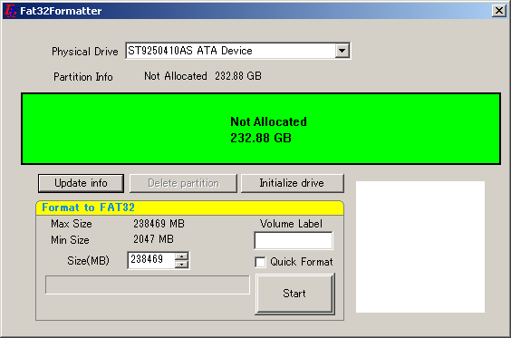 Format Large Portable HDD into FAT32 format