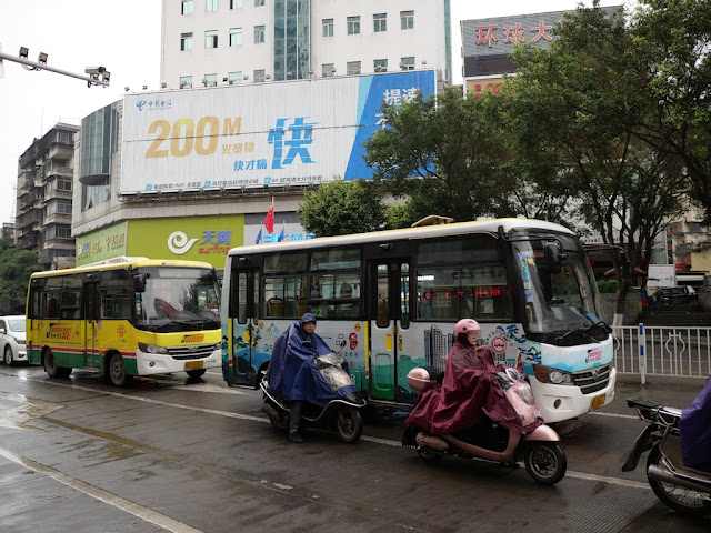 two mid-sized Jumbo Wuzhou Buses