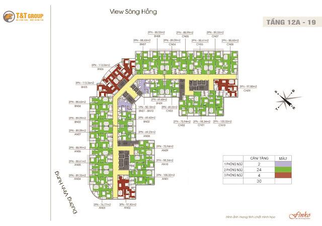 MB điển hình chung cư T&T Riverview 440 Vĩnh Hưng