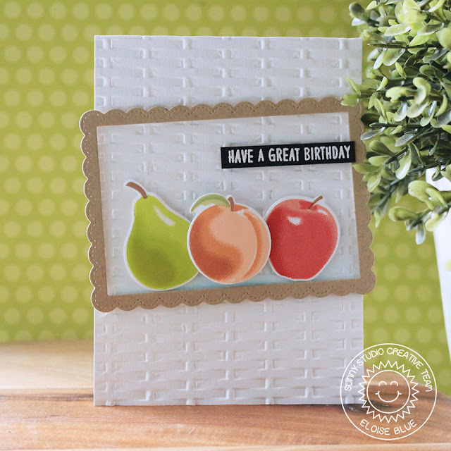 Sunny Studio Stamps: Fruit Cocktail Fancy Frames Rectangle Embossed Background Birthday Card by Eloise Blue