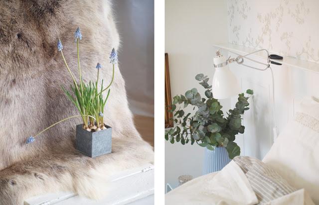 Blomster, skind og hygge i soveværelset