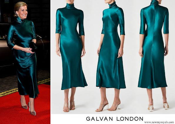 The Countess of Wessex wore a new silk-satin midi dress by Galvan London