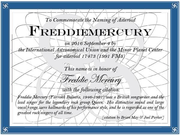 Freddy Mercury recibió un asteroide por su cumpleaños 70
