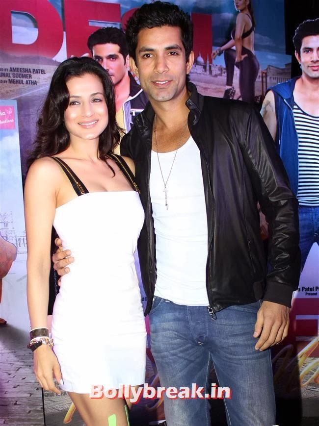 Amisha Patel and Sahil Shroff, Hot Amisha Patel in White Dress at Desi Magic Poster Launch