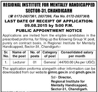 Applications are invited for Lecturer vacancy in RIMH Chandigarh
