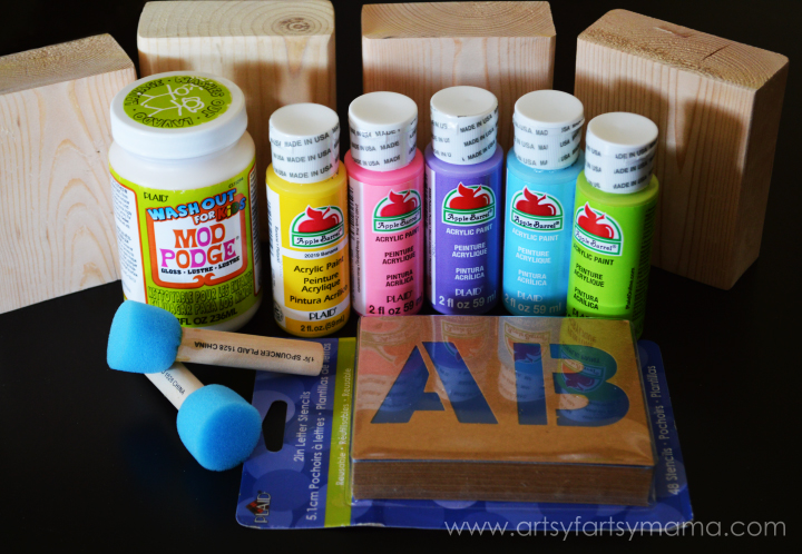 DIY Stenciled Name Blocks with Plaid Crafts