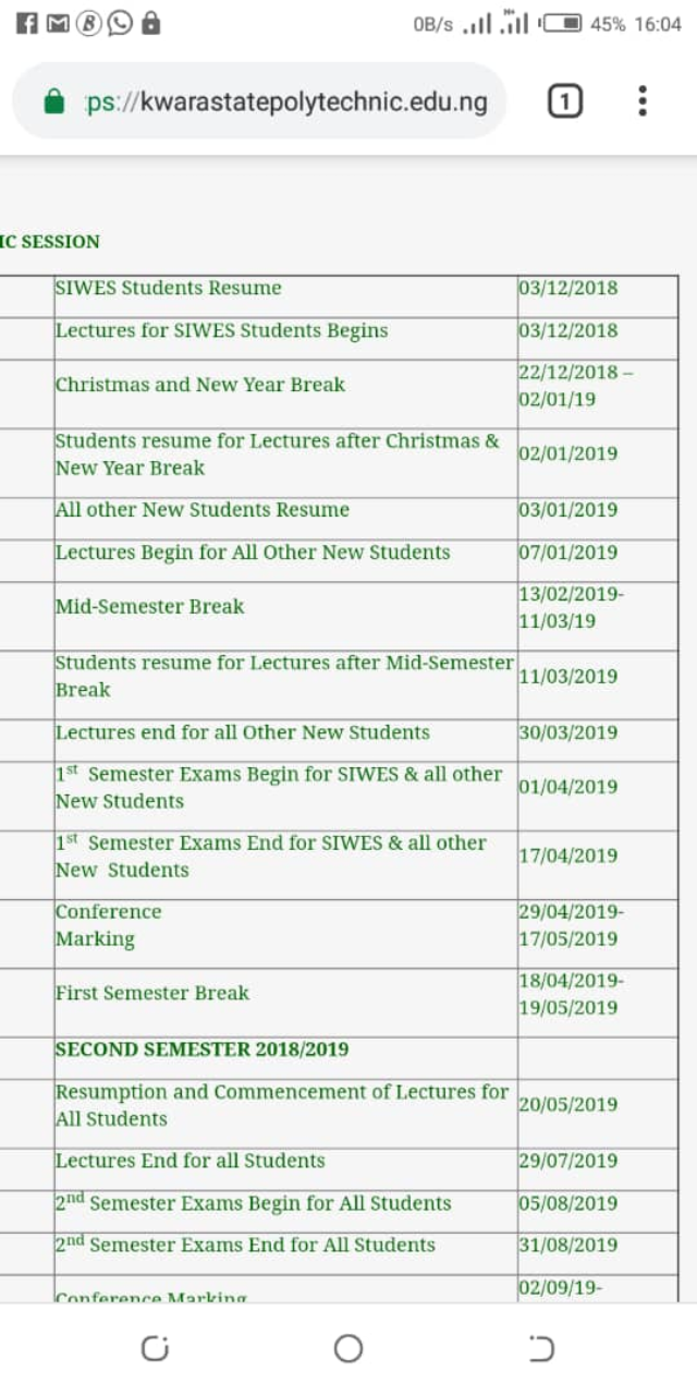 Kwara State Polytechnic has release academic calendar for 2019