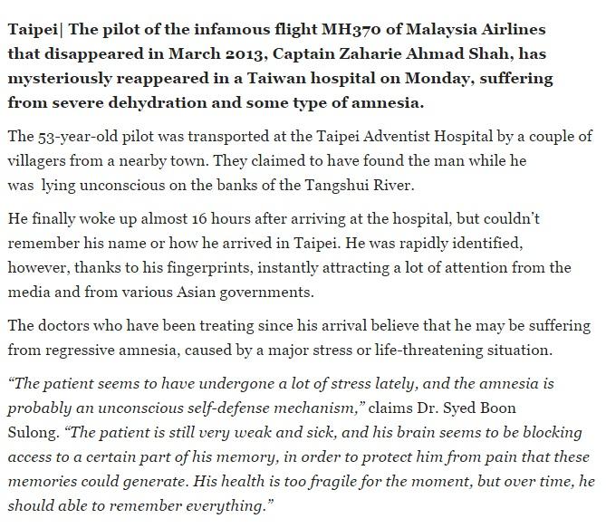 Berita Kapten MH370 Di Temui Selamat Di Taiwan Palsu