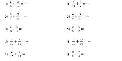Resultado de imagen para ejercicios de sumas de fracciones