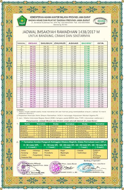 Jadwal Imsakiyah Ramadhan Kota Bandung & Kota Lainnya di Jabar
