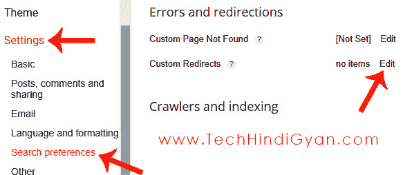 Go To Blogger -> Settings -> Search Preferences -> Custom Redirect